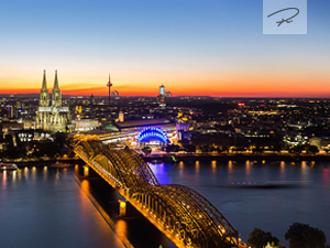 Köln Skyline zum Sonnenuntergang