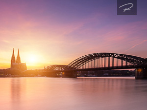 Köln Skyline Sonnenuntergang Silhouette