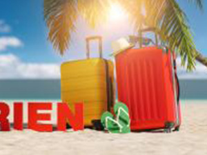 Coronaferien (German for: Corona Holidays for coronavirus pandemic) concept with slogan on the beach with Suitcase, Palm tree, flip-flops and blue sky : Stockfoto oder Stockvideo und Fotos, Bilder, Stockmedien von rcfotostock | RC-Photo-Stock